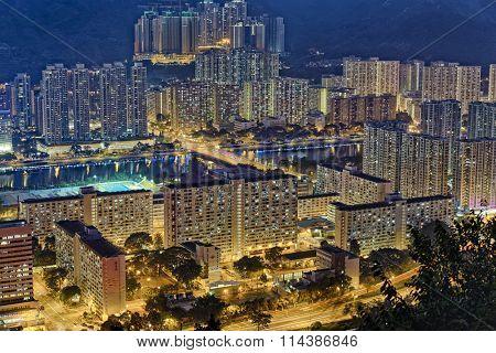Hong Kong Sha Tin area at Night poster
