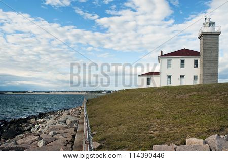 Lighthouse Protected By Seawall In Rhode Island