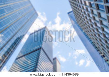 Defocused Background With Manhattan Skyscrapers, New York City