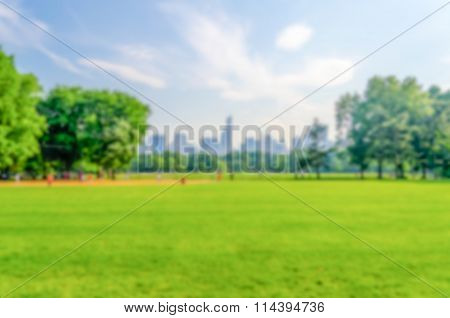 Defocused Background Of Central Park, New York City, Usa