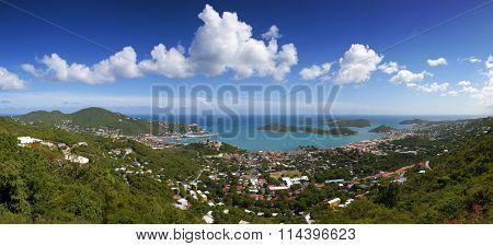 Beautiful St. Thomas Virgin Islands Seascape Large Blue Ocean Pano with cruise ship