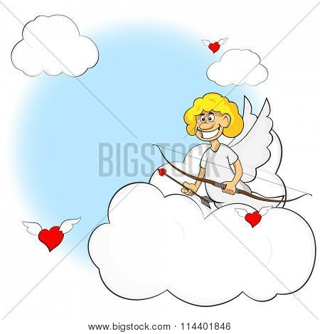Funny cartoon cupid. Vector illustration cartoon of cute cupid with bow and arrow. Illustration of a Valentine's Day.