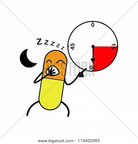 Illustration Vector Capsule Yawn And Point Clock, Medicine Before Sleeping.