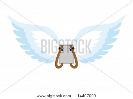 Angel Wings. Backpack With White Wings. Cupids Wings To Spare. Angel Wings Replacement Parachute.