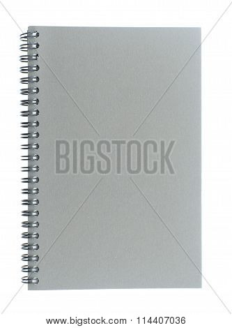 Wire bound spiral bound sketchbook made from grey board isolated on white background.