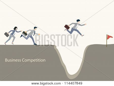 Business People Jumping Over Gap.