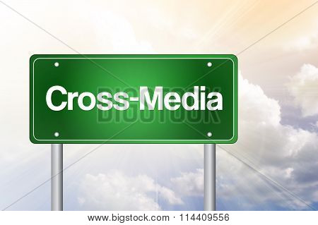 Cross-media Green Road Sign, Business Concept..