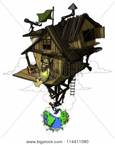 Pleased man sits in his secluded house. High above the ground. Colored