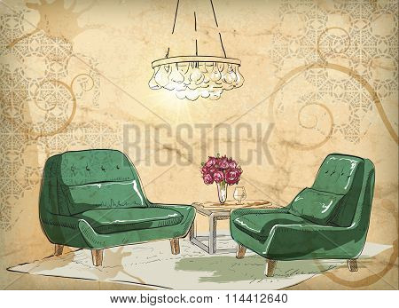 Home concept with various accessories and furniture