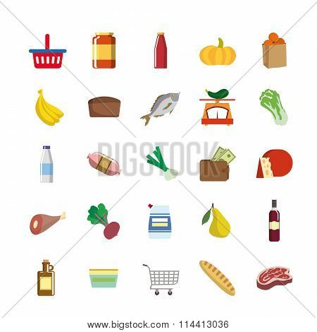 color icons of foodstuffs
