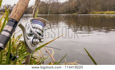 Fishing. Nature. Spinning on the river. Sport fishing