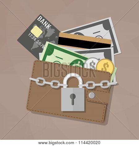 Closed wallet and locked pad lock