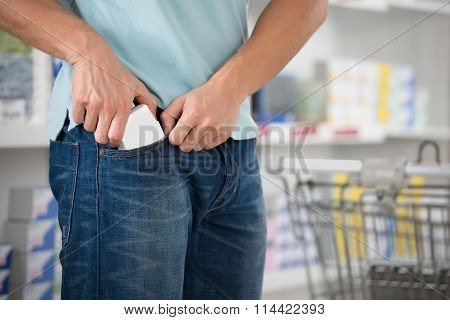 Shoplifter Putting Packet In Pocket