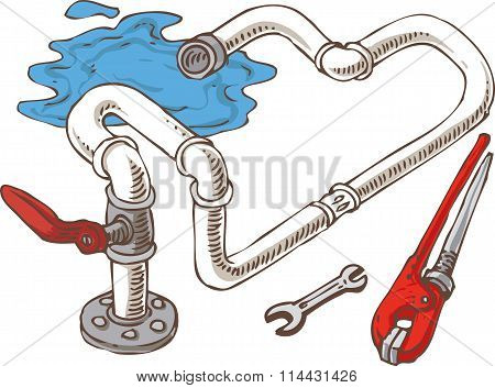 Sanitary Engineering Composition with Pipes and Wrenches