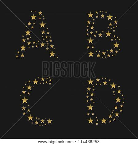 Golden stars alphabet