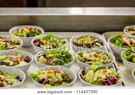 Prepared Salads In Commercial Kitchen