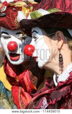 Clown couple of Venice Carnival
