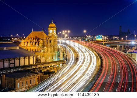 Richmond, Virginia, USA at historic Main Street Station and Interstate 95.