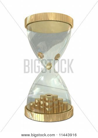 Sand watch and golden coins