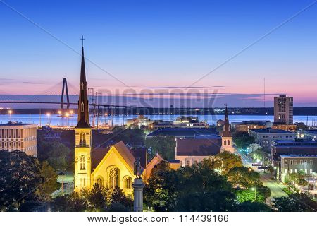 Charleston, South Carolina, USA downtown church and skyline.