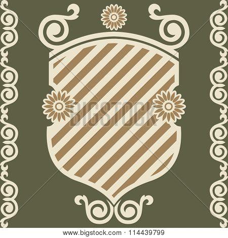 decorative escutcheon, vector design element, stylized coat of arms, heraldic symbols