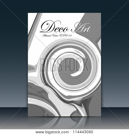 Abstract composition. Black helix art. Swirl spire text frame icon. Gyre logo, trademark style. White a4 brochure title page. Creative ad construction. Official banner font. Minimalistic modern flyer