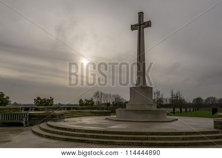 Memorial in Bedford House WW1 cemetery in Flanders, Belgium