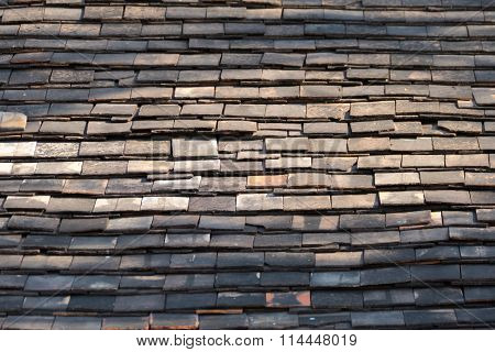 Abstract Detail Of Old Slate Roof Tiles