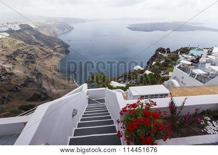 Winding Stairs Going Down To Aegan Sea, Santorini Island, Greece