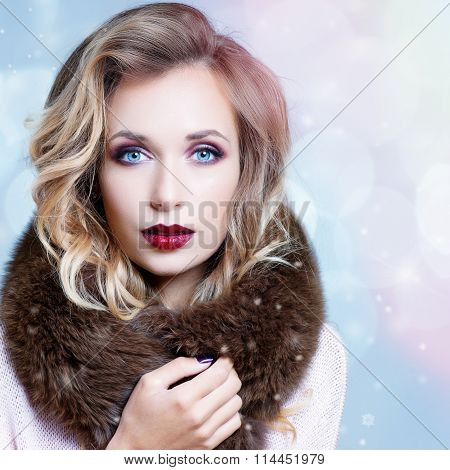 Winter Woman In Luxury Fur Coat. Beauty Fashion Model Girl In Blue Fox Fur Coat. Perfect Makeup, Acc