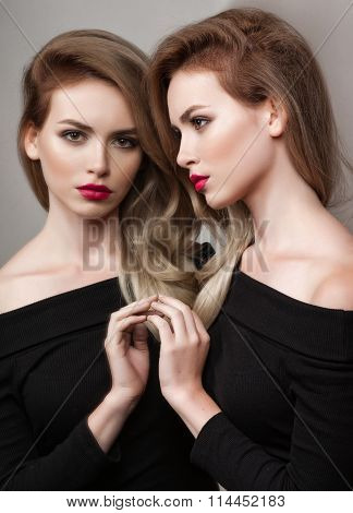 High Fashion Look.glamour Fashion Portrait Of Beautiful Sexy Brunette Girl Female Model With Bright