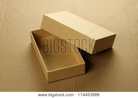 Recycle Blank Card Board Box For Mockup On Corrugated Background