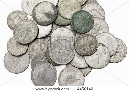 Old Thai Coins On White Background
