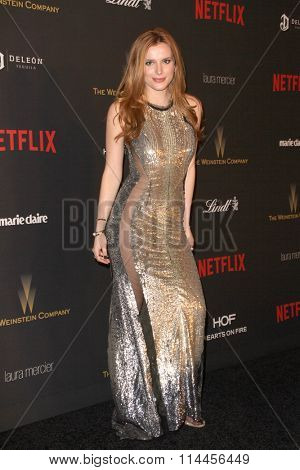 BEVERLY HILLS, CA - JAN. 10: Bella Thorne arrives at the Weinstein Company and Netflix 2016 Golden Globes After Party on Sunday, January 10, 2016 at the Beverly Hilton Hotel in Beverly Hills, CA.