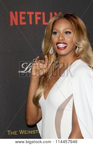 BEVERLY HILLS, CA - JAN. 10: Laverne Cox arrives at the Weinstein Company and Netflix 2016 Golden Globes After Party on Sunday, January 10, 2016 at the Beverly Hilton Hotel in Beverly Hills, CA.