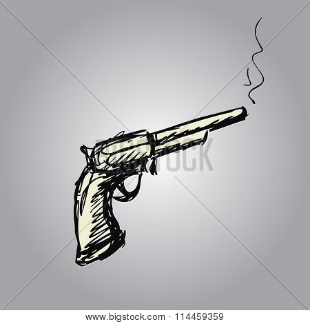 Handgun Or Old Revolver, Hand Drawing