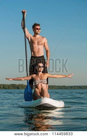 Happy Couple On Vacation Sport Kayak Sup Newlyweds