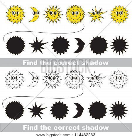 Sun set. Find correct shadow.