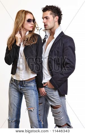 Sexy Woman Flirting With A Handsome Guy