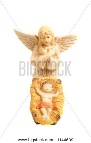 Religious Nativity Scene With Baby Jesus And Angel