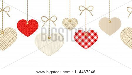 Valentines horizontal seamless background with hanging hearts.