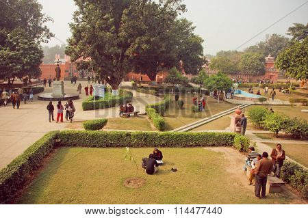 Students Meeting In Yard Of Famous Bannares Hindu University With Green Area
