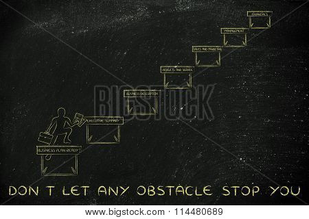Entrepreneur Jumpying Obstacles, With Text Don't Let Any Obstacle Stop You