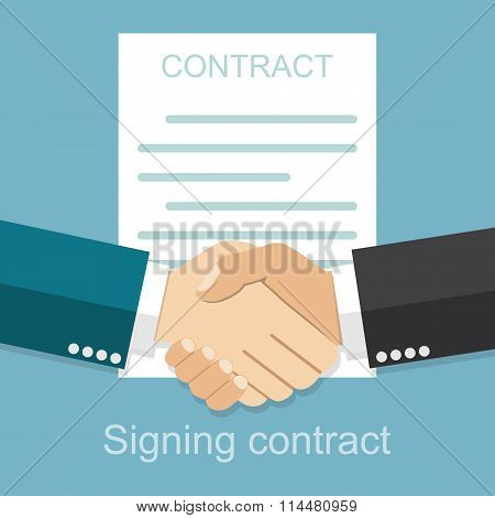 Handshake Of Business People On The Background Of The Contract