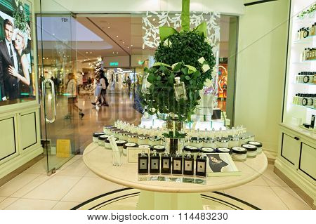 HONG KONG - DECEMBER 25, 2015:  Jo Malone London store in Hong Kong. Joanne Lesley Malone MBE is a British perfumer, the founder of Jo Malone London and Jo Loves.