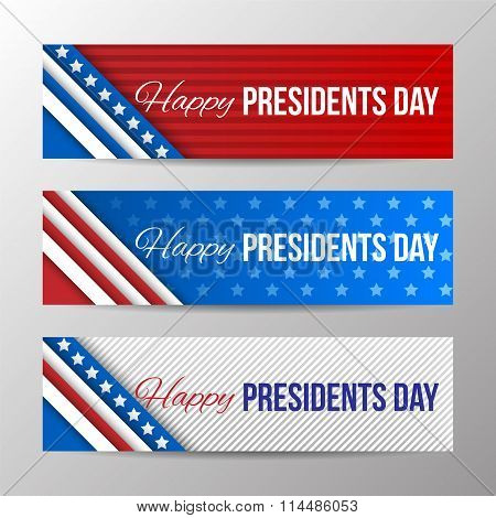 Set Of Modern Vector Horizontal Banners, Page Headers With Text For Presidents Day. Banners With Str