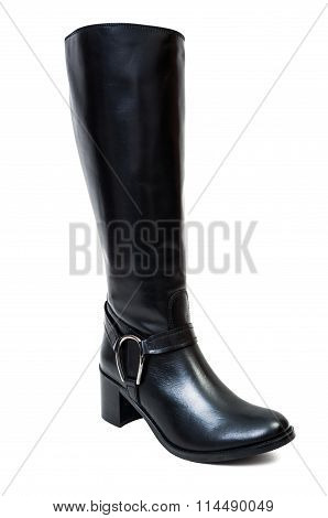 Black Autumun Leather Boots For Women.