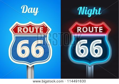 retro route 66 neon glowing sign