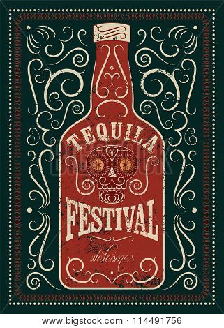 Typographic retro grunge design Tequila Festival poster. Tequila bottle with stylized mexican skull.