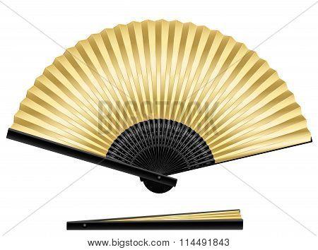 Golden Folding Fan